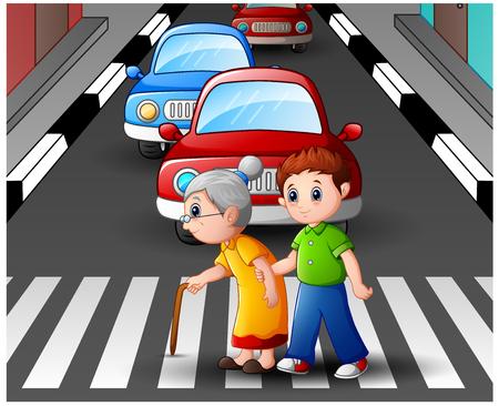 El muchacho de la historieta ayuda a la abuela que cruza la calle Ilustración de vector