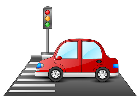 Red car and traffic lights on a pedestrian crossing Illustration