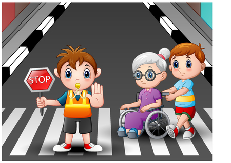 Cartoon vlagger en jongen helpt oma in rolstoel die de straat oversteken