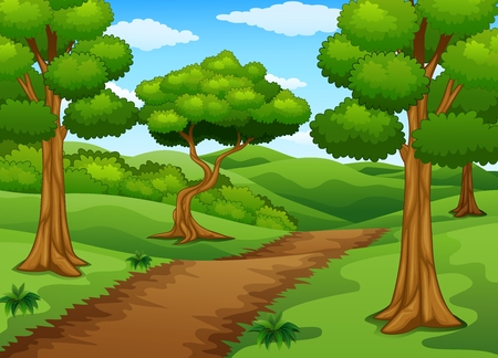 Scène forestière avec chemin de terre