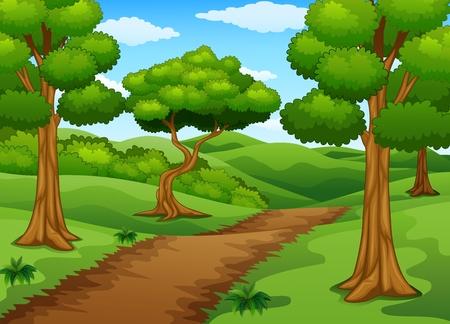 Scena forestale con sentiero sterrato