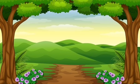rural road: Hills view with dirt path in the forest Illustration