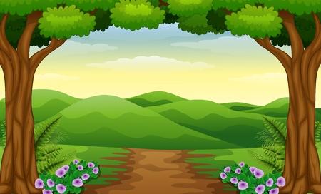 Hügelblick mit Schmutzpfad im Wald