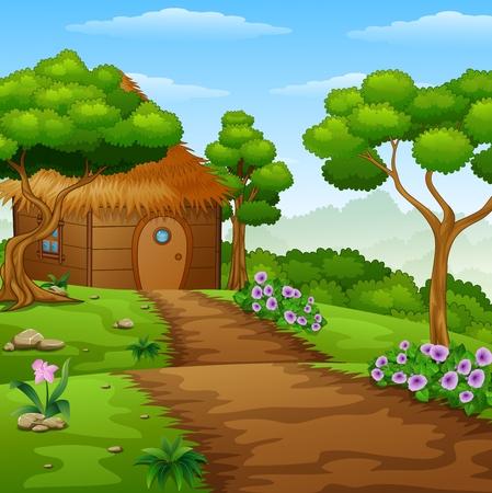 Cartoon houten hut in het bos