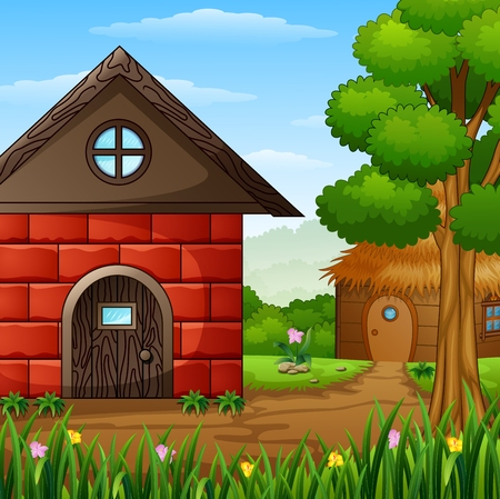 Cartoon barnhouse with a cabin in the farmland