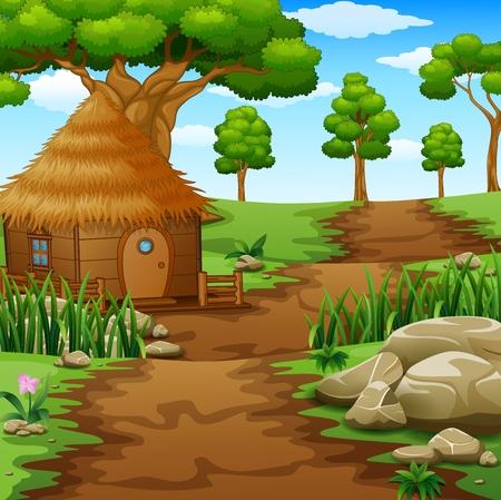 Houten hutten in het veld Stockfoto