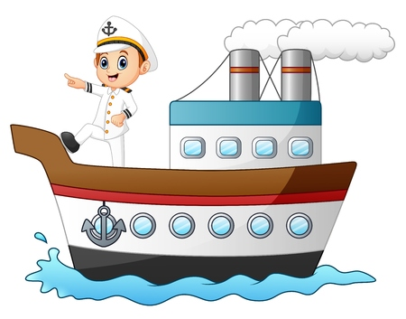 Cartoon ship captain pointing on a ship