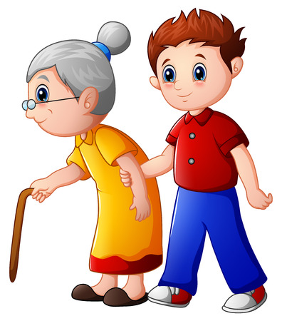 Boy helps old lady and helping her to walk with her cane Stock Photo