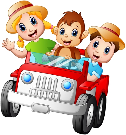Happy kids driving a car with a monkey Stock Photo