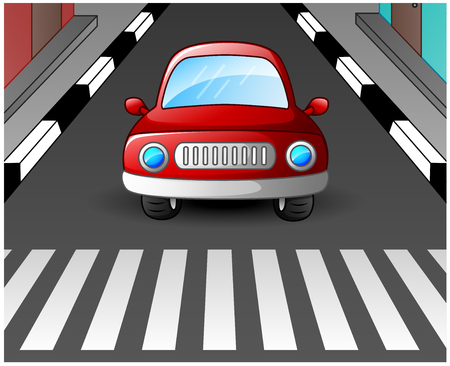 stopped: Red car stopped at the zebra crossing Stock Photo