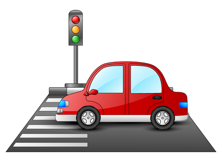 Red car and traffic lights on a pedestrian crossing Stock Photo