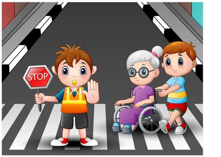 Cartoon flagger and boy helps grandma in wheelchair crossing the street Stock Photo