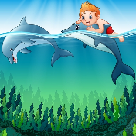 Vector illustration of Cartoon boy with dolphins in the sea