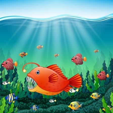 hard coral: Vector illustration of Cartoon angler fish underwater