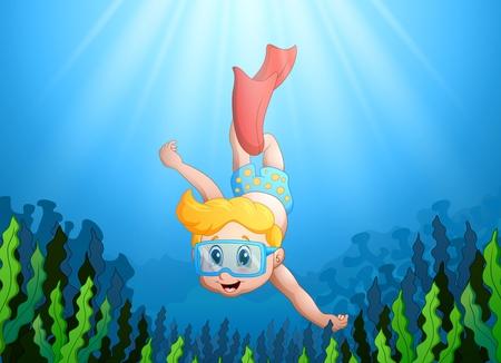 free diver: Vector illustration of Cartoon kid diving underwater