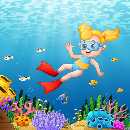 Vector illustration of Cartoon girl swimming underwater with fish