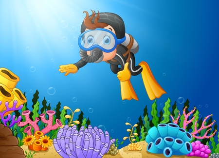 Vector Illustration des Karikaturjungen-Tauchs im Meer Standard-Bild - 80093940