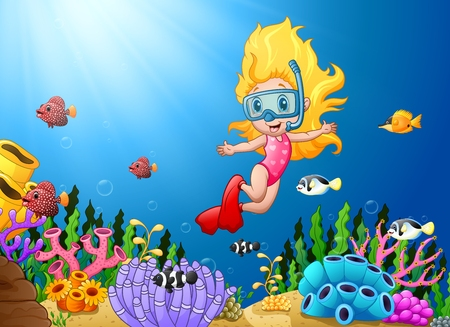 Vector illustration of Cartoon girl diving in the sea