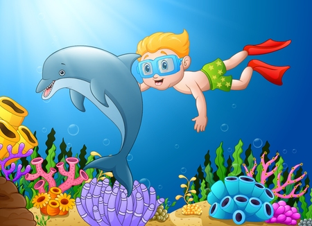 Vector illustration of Cartoon boy diving in the sea with dolphin