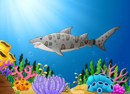 Vector illustration of Cartoon shark fish in the beautiful underwater Illustration