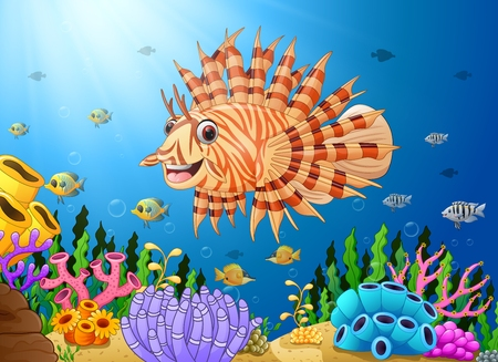 Vector illustration of Cartoon scorpion fish in the sea
