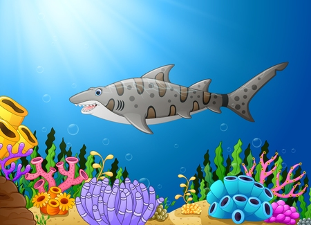 Cartoon shark fish in the beautiful underwater