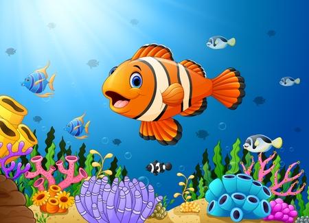 hard coral: Cute clown fish cartoon in the sea
