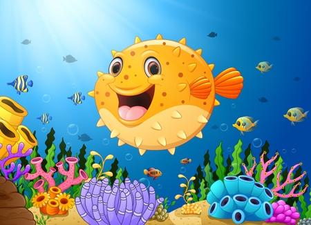 hard coral: Cartoon puffer fish with sea life