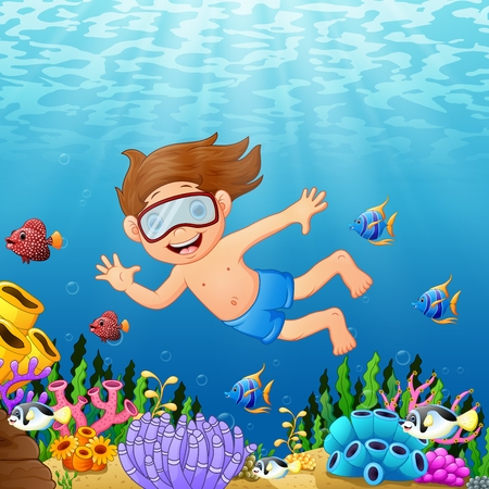 Cartoon boy swimming in the sea with fish