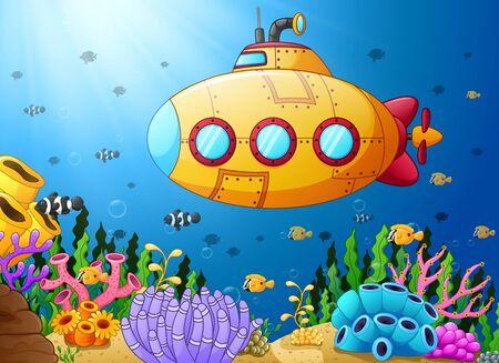deepsea: Cartoon submarine underwater