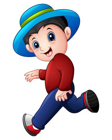 Vector illustration of Cartoon boy running wearing a hat