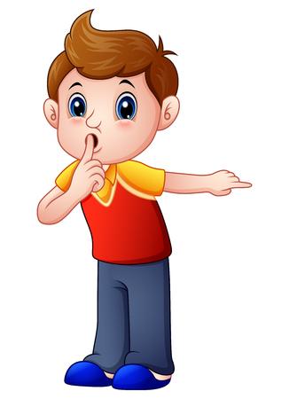 침묵에 대해 몸짓으로 나타내는 만화 소년의 벡터 일러스트 레이션