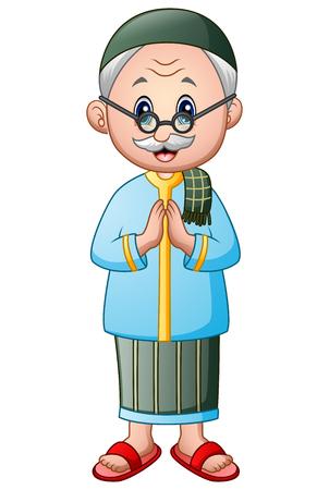 old muslim man cartoon Illustration