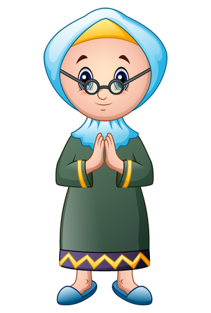 Old muslim woman cartoon