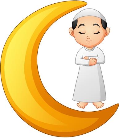 Moslimse jongen die op de maanmaaltijd bidt Vector Illustratie