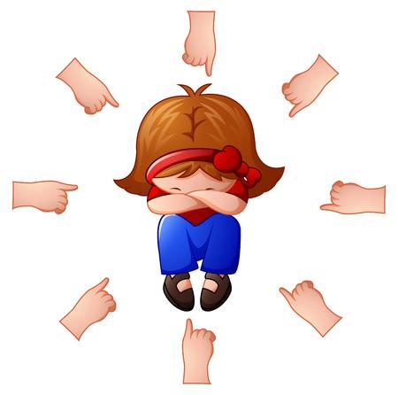 Meisje wordt beschuldigd met vingers die naar haar richten Stockfoto