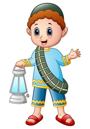 Cartoon muslim boy holding lantern
