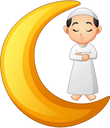 Muslim boy praying on the crescent moon Stock Photo