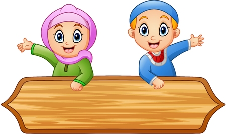 sign: Muslim kids cartoon with wooden sign Stock Photo