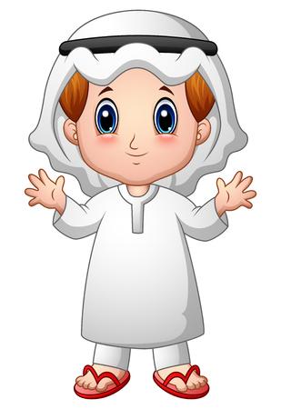 Boy muslim cartoon waving hand