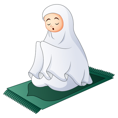 Muslim women sitting on the prayer rug while praying Illustration