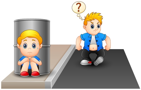 Een bang jongen verbergen achter een vat Omdat verstoord stoute kind Stock Illustratie