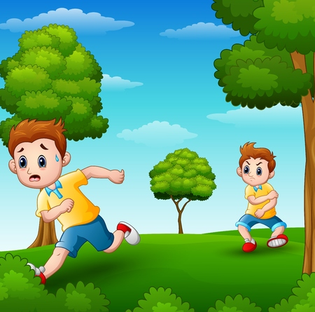 A frightened kid running because disturbed naughty child in the garden