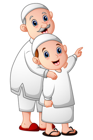 Muslim adult men holding his grandson isolated on white background Stock Photo