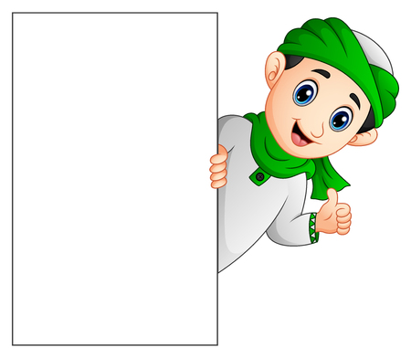 Happy muslim kid holding blank sign and giving thumb up Stock Photo