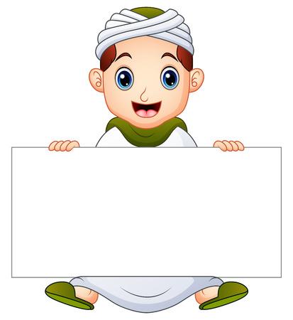 Happy muslim kid holding blank sign