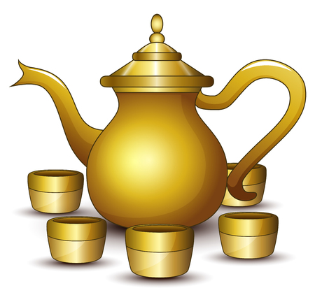 Gold teapot cartoon with some cup.