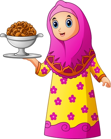 Muslim girl wearing pink veil with holding a platter of cake Illustration