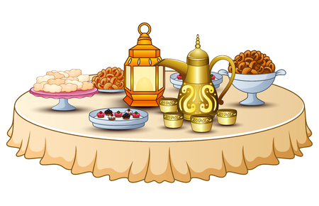 Delicious menu for iftar party are on the table with lantern and gold teapot Illustration