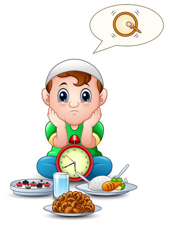 Muslim kid sit on the floor while wait break fasting with some food in front of him